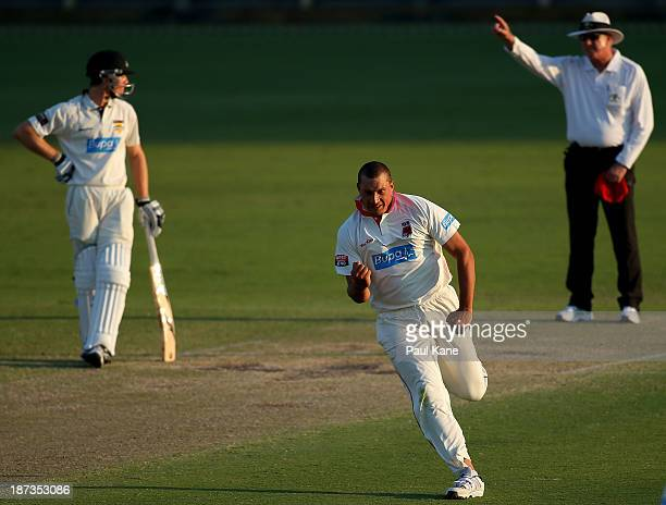 Trent Lawford of the Redbacks celebrates the wicket of Jason Behrendorff of the Warriors during day three of the Sheffield Shield match between the...