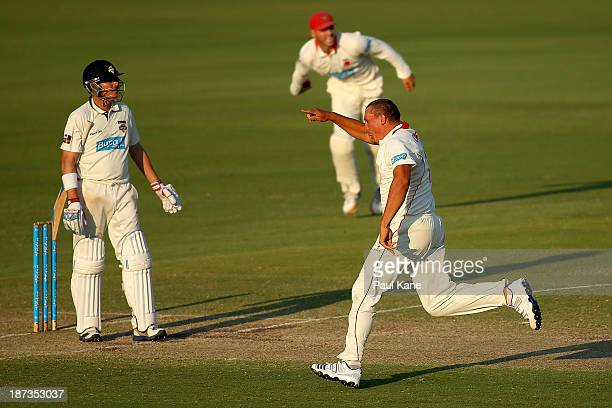Trent Lawford of the Redbacks celebrates the wicket of Marcus North of the Warriors during day three of the Sheffield Shield match between the...