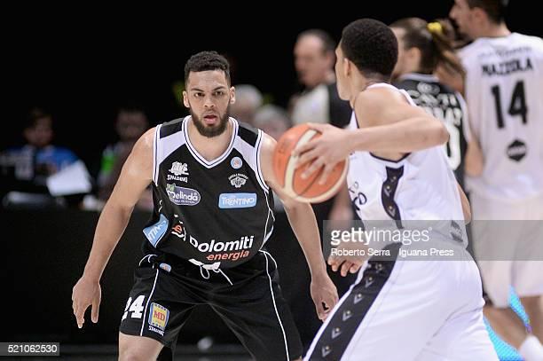 Trent Lockett of Dolomiti Energia competes with Abdul Gaddy of Obiettivo Lavoro during the LegaBasket match between Virtus Obiettivo Lavoro Bologna v...