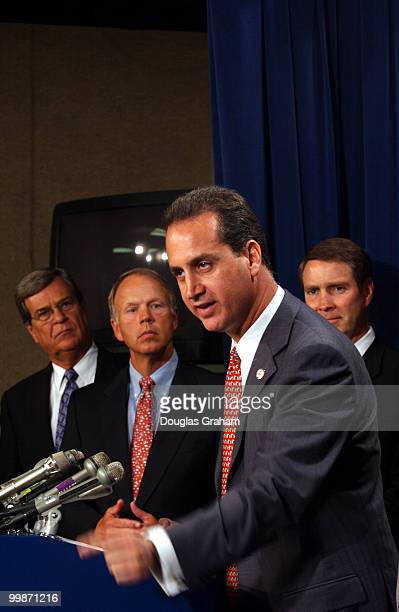 Trent Lott RMiss Don Nickles ROK Mario DiazBalart RFla and Bill Frist RTN talk to reporters about Miguel Estrada dropping his name for the nomination...