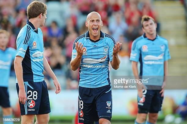 Trent McClenahan of Sydney reacts after Adelaide won a penalty kick during the round 14 ALeague match between Adelaide United and Sydney FC at...
