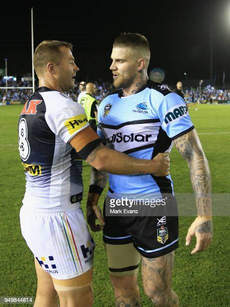Trent Merrin of the Panthers and Josh Dugan of the Sharks talk after the round seven NRL match between the Cronulla Sharks and the Penrith Panthers...