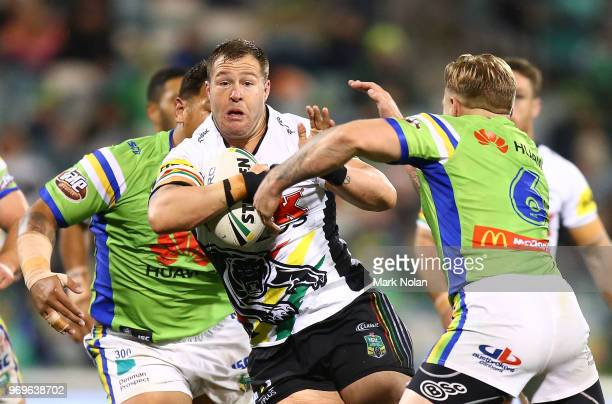 Trent Merrin of the Panthers in action during the round 14 NRL match between the Canberra Raiders and the Penrith Panthers at GIO Stadium on June 8...