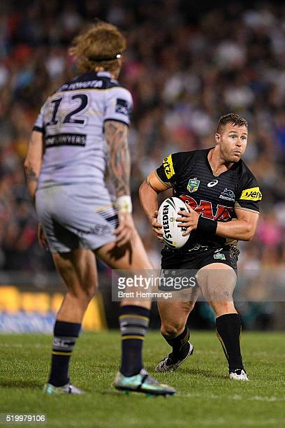 Trent Merrin of the Panthers runs the ball during the round six NRL match between the Penrith Panthers and the North Queensland Cowboys at Pepper...