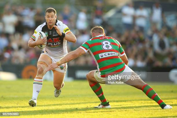 Trent Merrin of the Panthers runs the ball during the round two NRL match between the Penrith Panthers and the South Sydney Rabbitohs at Penrith...