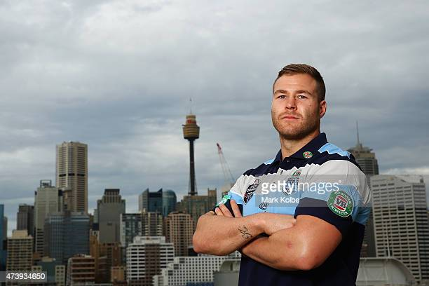 Trent Merrin poses during the New South Wales Blues State of Origin Team Announcement and Media Session at The Star on May 19 2015 in Sydney Australia