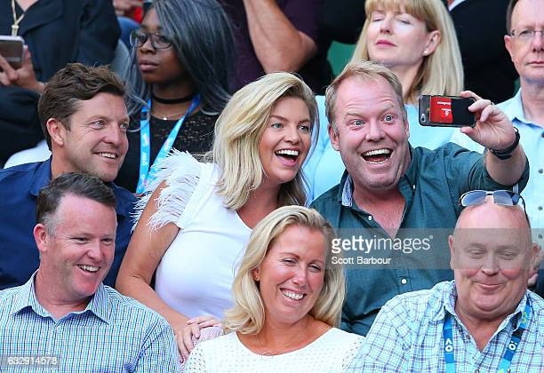 Trent Miller Rebecca Maddern and Peter Helliar laugh as they attend the Women's Singles Final match between Venus Williams of the United States and...