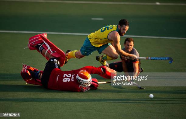 Trent Mitton from Australia is tripped by Goal Keeper Pirmin Blaak from The Netherlands which results in a goal from a penalty during the Netherlands...