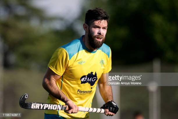 Trent Mitton of Australia in action during the Men's FIH Field Hockey Pro League match between Spain and Australia at Club Villa de Madrid on June 13...