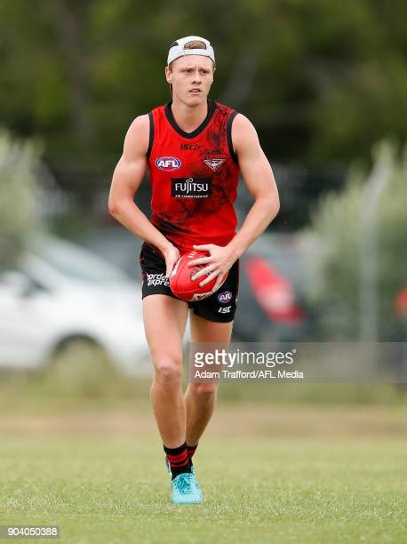Trent Mynott of the Bombers in action during the Essendon Bombers training session at The Hangar on January 12 2018 in Melbourne Australia