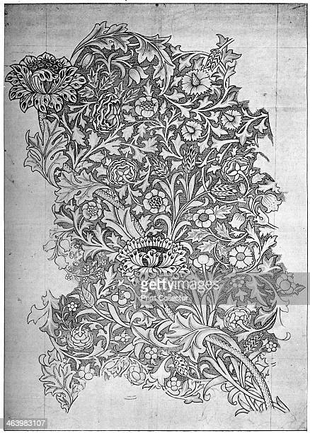 'Trent' pattern printed linen 1892 Working drawing by William Morris From The Listener 14 February 1934