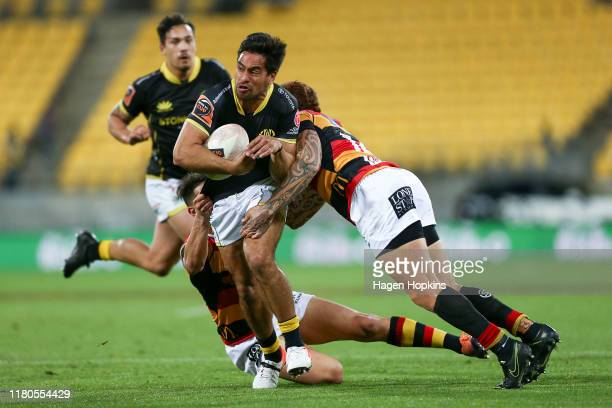 Trent Renata of Wellington is tackled by Declan O'Donnell of Waikato during the round 10 Mitre 10 Cup match between Wellington and Waikato at Westpac...