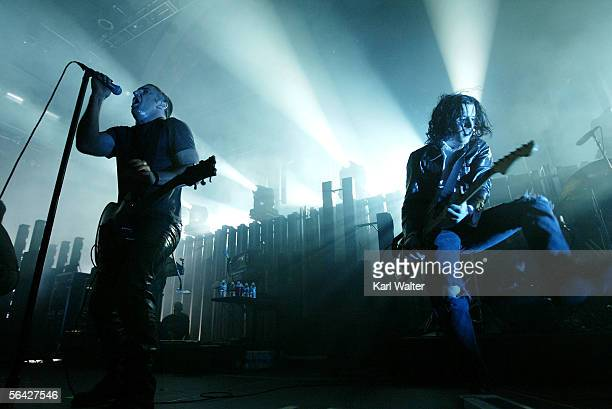 Trent Renzor and guitarist Aaron North of Nine Inch Nails performs at 1067 KROQ's Almost Acoustic Christmas at Gibson Ampitheater at Universal...