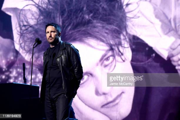 Trent Reznor introduces inductees The Cure onstage at the 2019 Rock Roll Hall Of Fame Induction Ceremony Show at Barclays Center on March 29 2019 in...