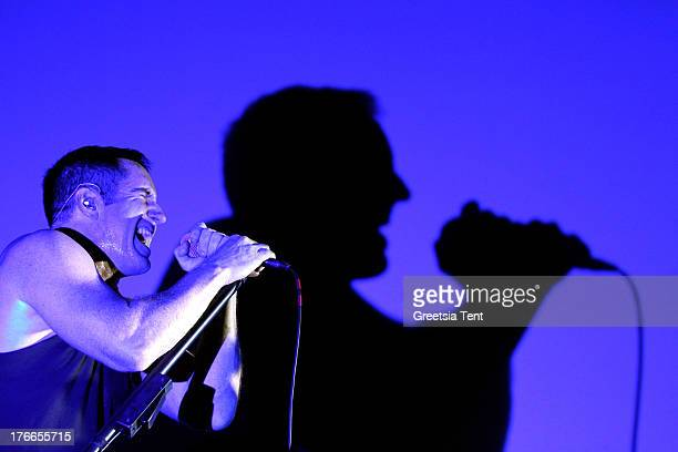 Trent Reznor of Nine Inch Nails performs at day one of the Lowlands Festival on August 16 2013 in Biddinghuizen Netherlands