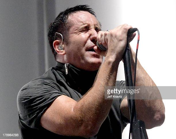 Trent Reznor of Nine Inch Nails performs at the Lands End Stage during day 2 of the 2013 Outside Lands Music and Arts Festival at Golden Gate Park on...