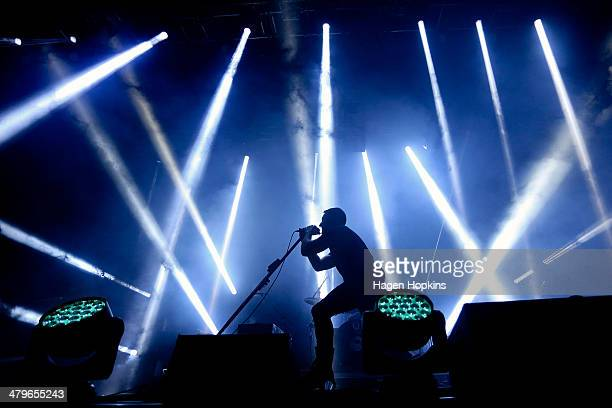 Trent Reznor of Nine Inch Nails performs on stage at TSB Arena on March 20 2014 in Wellington New Zealand