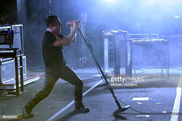 Trent Reznor of Nine Inch Nails performs on stage during Bonnaroo 2009 on June 13 2009 in Manchester Tennessee