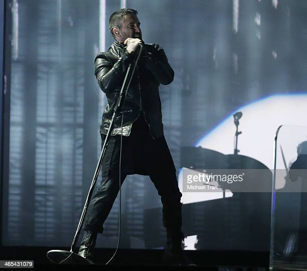Trent Reznor performs onstage during the 56th GRAMMY Awards held at Staples Center on January 26 2014 in Los Angeles California