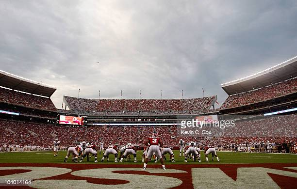 Trent Richardson and the offense of the Alabama Crimson Tide lines up against the defense of the Penn State Nittany Lions at Bryant-Denny Stadium on...