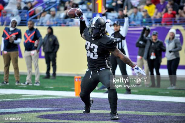 Trent Richardson of Birmingham Iron celebrates his touchdown against the Atlanta Legends during the third quarter of the Alliance of American...
