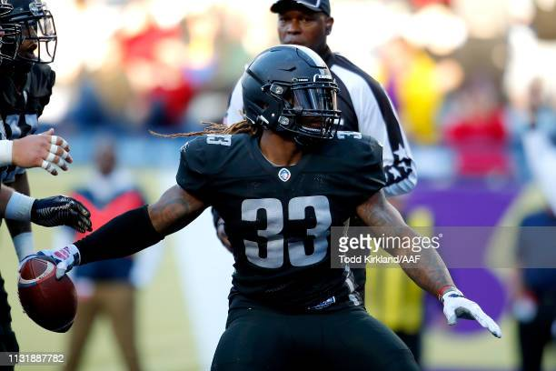 Trent Richardson of Birmingham Iron celebrates his touchdown run against the Atlanta Legends during the first quarter of the Alliance of American...
