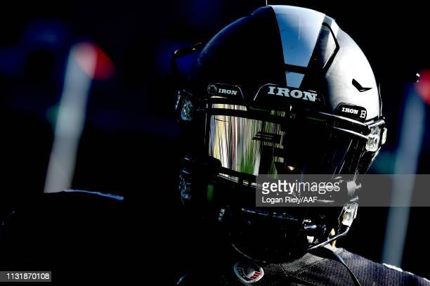 Trent Richardson of Birmingham Iron warms up prior to the Alliance of American Football game against the Atlanta Legends at Georgia State Stadium on...