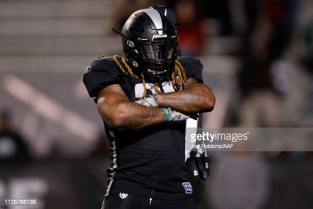 Trent Richardson of the Birmingham Iron celebrates a touchdown during an Alliance of American Football game against the Memphis Express at Legion...