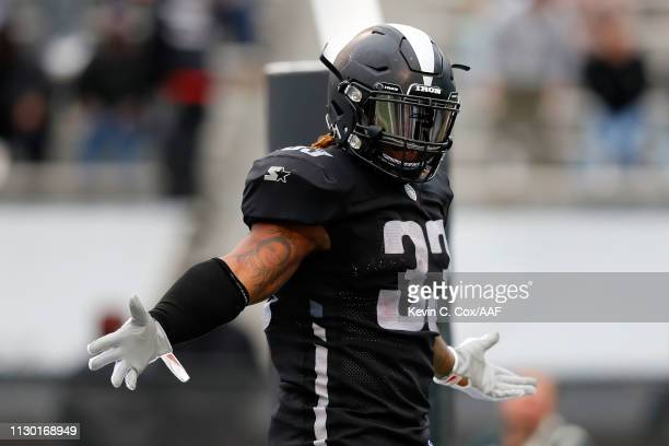 Trent Richardson of the Birmingham Iron celebrates a touchdown during an Alliance of American Football game against the Salt Lake Stallions at Legion...
