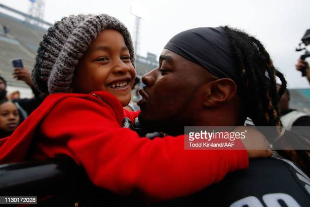 Trent Richardson of the Birmingham Iron greets fans following an Alliance of American Football game at Legion Field against the Salt Lake Stallions...