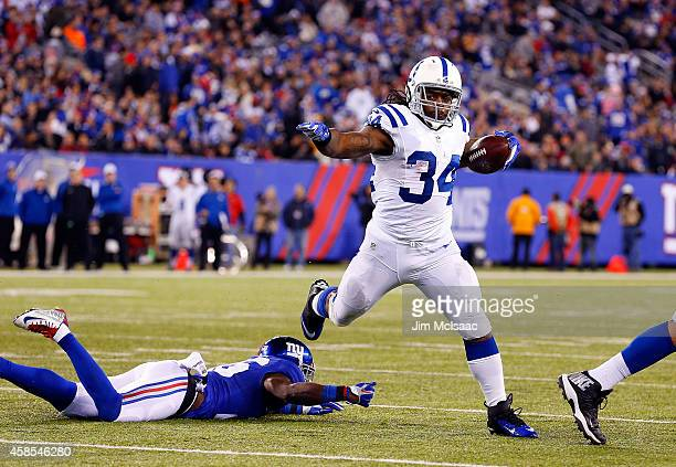 Trent Richardson of the Indianapolis Colts in action against the New York Giants on November 3 2014 at MetLife Stadium in East Rutherford New Jersey...
