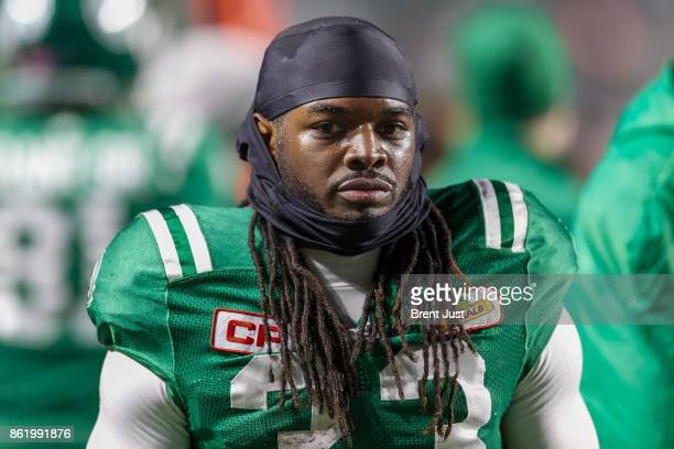 Trent Richardson of the Saskatchewan Roughriders on the sideline during the game between the Ottawa Redblacks and Saskatchewan Roughriders at Mosaic...