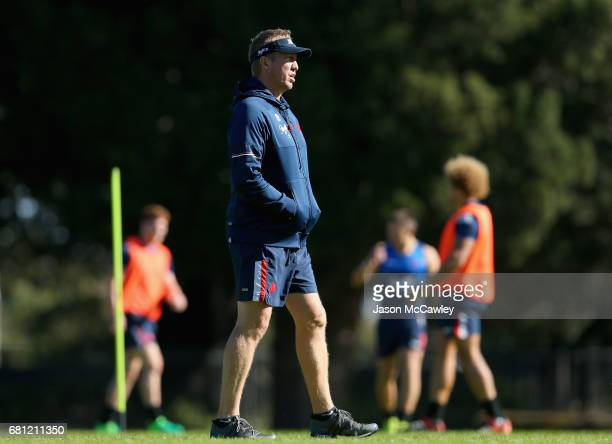 Trent Robinson head coach of the Roosters looks on during a Sydney Roosters NRL training session at Kippax Lake on May 10 2017 in Sydney Australia