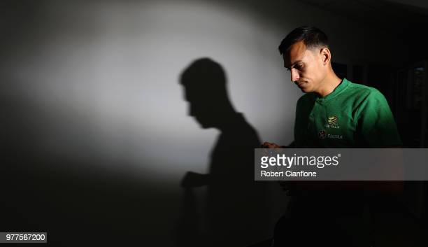 Trent Sainsbury of Australia speaks during an Australia Socceroos media opportunity at Stadium Trudovye Rezervy on June 18 2018 in Kazan Russia