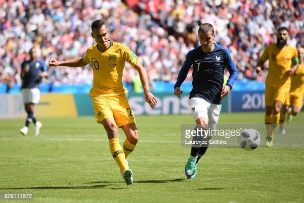Trent Sainsbury of Australia and Antoine Griezmann of France battle for the ball during the 2018 FIFA World Cup Russia group C match between France...