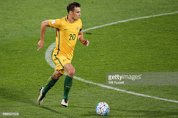 Trent Sainsbury of Australia controls the ball during the 2018 FIFA World Cup Qualifier match between the Australian Socceroos and Iraq at nib...