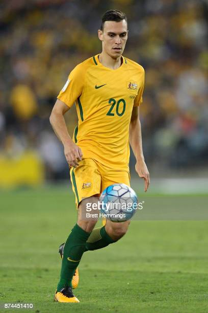 Trent Sainsbury of Australia controls the ball during the 2018 FIFA World Cup Qualifiers Leg 2 match between the Australian Socceroos and Honduras at...