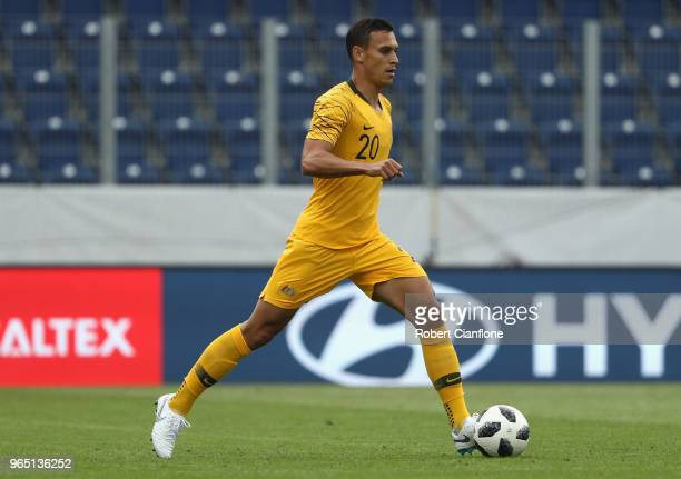 Trent Sainsbury of Australia controls the ball during the International Friendly match between the Czech Republic and Australia Socceroos at NV Arena...