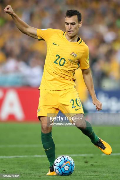 Trent Sainsbury of Australia kicks during the 2018 FIFA World Cup Asian Playoff match between the Australian Socceroos and Syria at ANZ Stadium on...