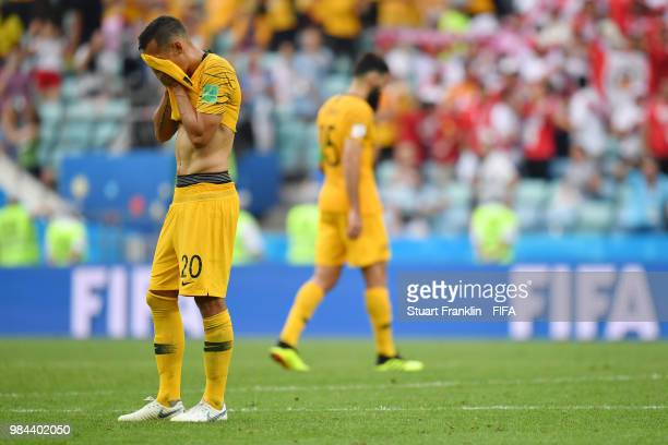 Trent Sainsbury of Australia looks dejected following his sides defeat in the 2018 FIFA World Cup Russia group C match between Australia and Peru at...