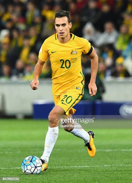 Trent Sainsbury of Australia looks to pass the ball during the 2018 FIFA World Cup Qualifier match between the Australian Socceroos and Thailand at...