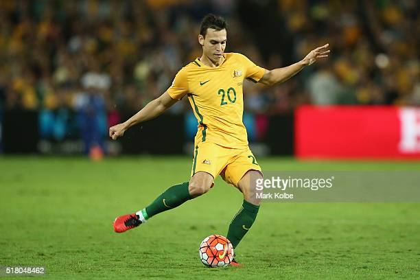 Trent Sainsbury of Australia passes during the 2018 FIFA World Cup Qualification match between the Australian Socceroos and Jordan at Allianz Stadium...