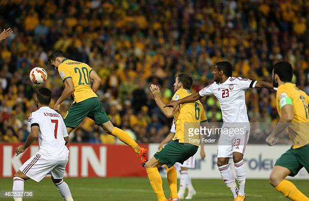 Trent Sainsbury of Australia scores a goal during the Asian Cup Semi Final match between the Australian Socceroos and the United Arab Emirates at...