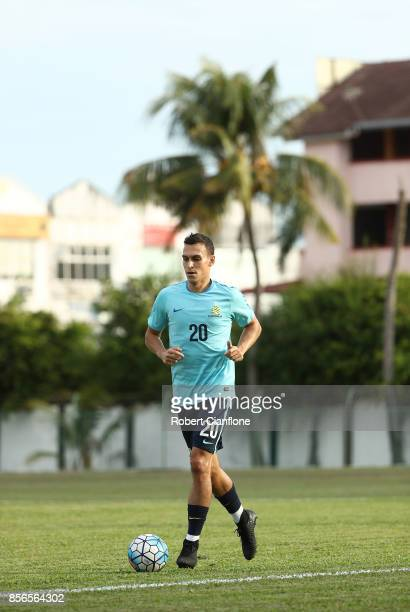 Trent Sainsbury of Australia warms up during an Australia Socceroos training session at Hang Tuah Stadium on October 2 2017 in Malacca Malaysia