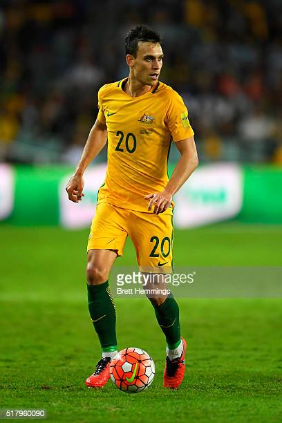 Trent Sainsbury of the Socceroos controls the ball during the 2018 FIFA World Cup Qualification match between the Australian Socceroos and Jordan at...