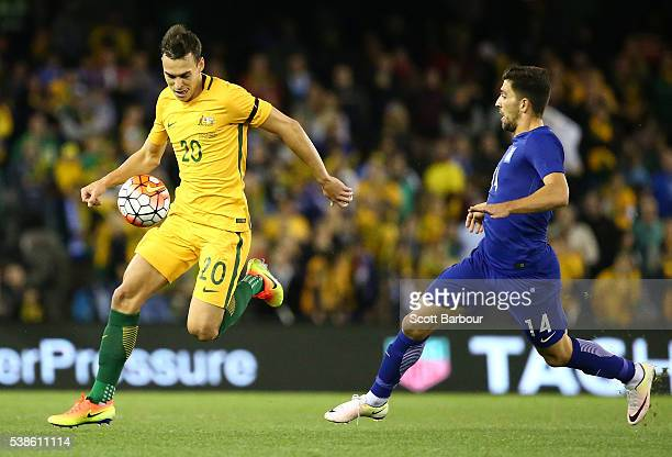 Trent Sainsbury of the Socceroos controls the ball during the International Friendly match between the Australian Socceroos and Greece at Etihad...