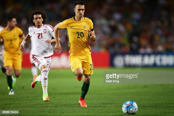 Trent Sainsbury of the Socceroos follows the ball during the 2018 FIFA World Cup Qualifier match between the Australian Socceroos and United Arab...