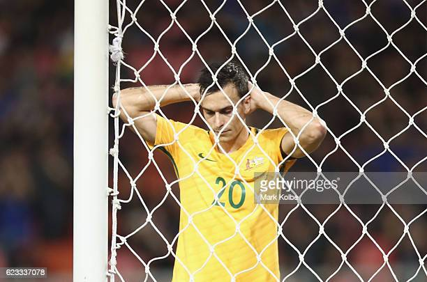 Trent Sainsbury of the Socceroos shows his frustration after a missed chance during the 2018 FIFA World Cup Qualifier match between Thailand and the...