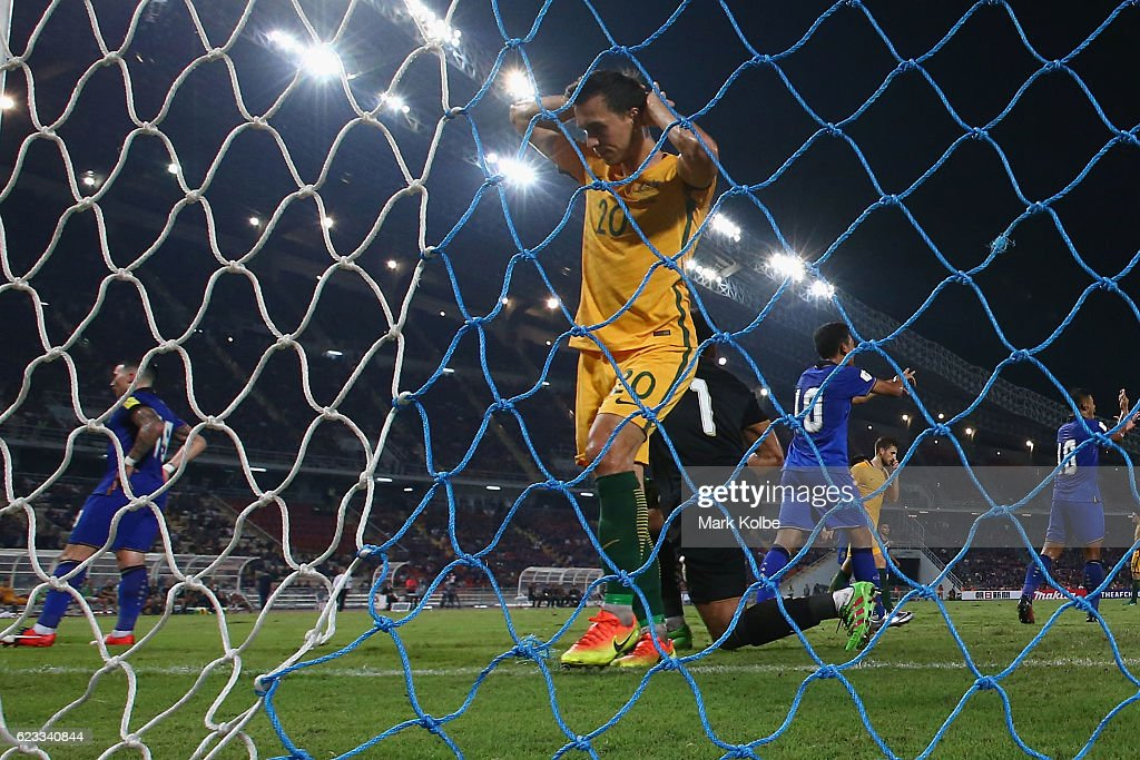 Trent Sainsbury of the Socceroos shows his frustration after a missed chance during the 2018 FIFA World Cup Qualifier match between Thailand and the Australia Socceroos at Rajamangala National Stadium on November 15, 2016 in Bangkok, Thailand.