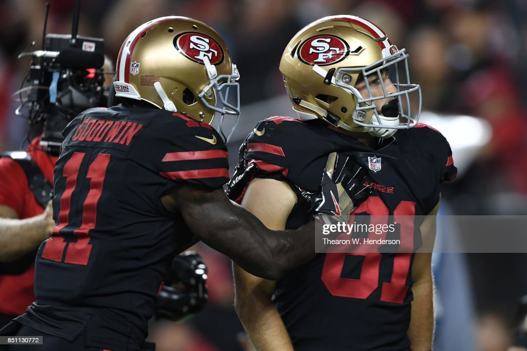 Trent Taylor #81 of the San Francisco 49ers celebrates after scoring against the Los Angeles Rams during their NFL game at Levi's Stadium on September 21, 2017 in Santa Clara, California.